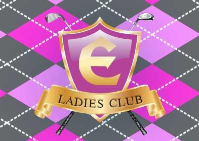 Two golf clubs and the Eldorado Logo with the text Ladies Club under it for Pretty in Pink.