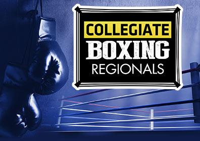 Collegiate Boxing Regionals Logo with Boxing Gloves and Boxing Ring