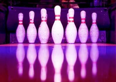 Bowling Pins with Red and Blue Lighting