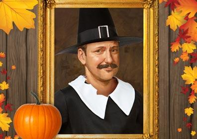 Framed Portrait of Pilgrim Renossance Man