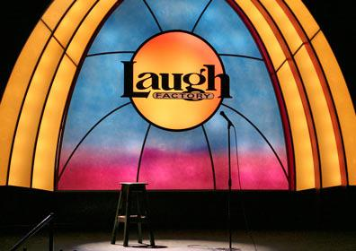 Colorful Laugh Factory Stage with Laugh Factory Logo