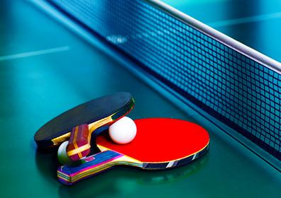 Ping Pong Paddles and Ping Pong on Table