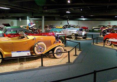 Cars in a showroom at the Nevada Automobile Museum