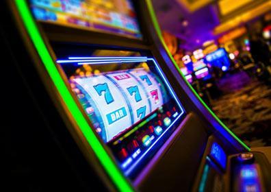 A slot machine in a casino