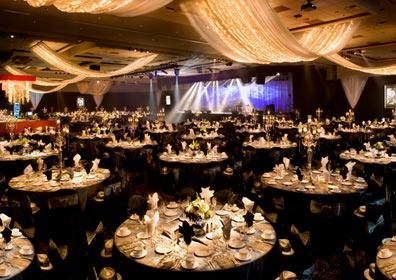The ballroom set up for a catered event