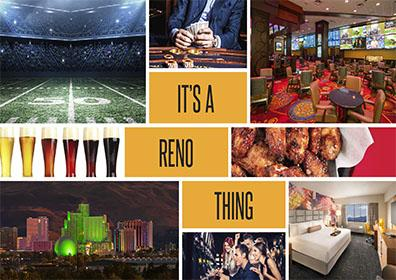 It's A Reno Thing collage with football-themed images