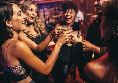 People drinking spirits
