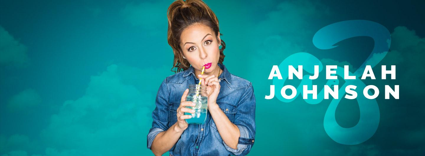 Anjelah Johnson sipping from a mason jar