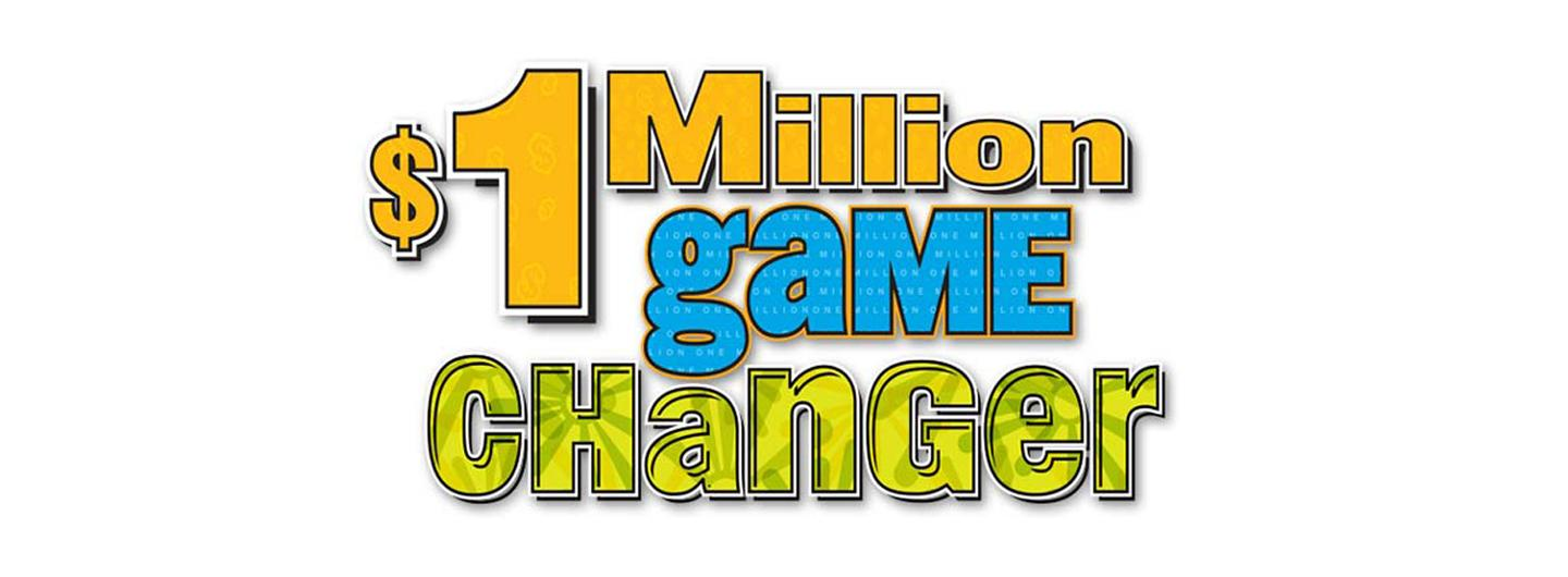 $1 Million Game Changer Logo in fun orange, blue and green text