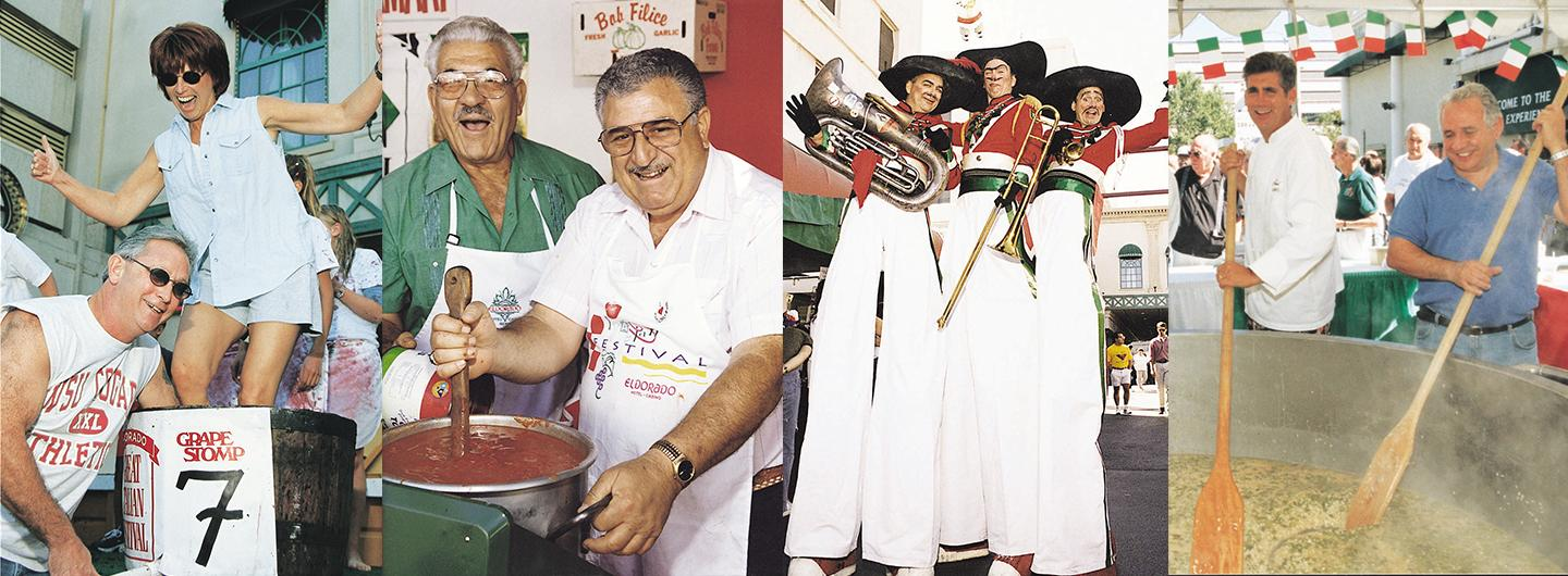 Lady Stomping Grapes, Older Italian Men Stirring Pasta, 3 Men Dressed in Italian Attire on Stilts and Gregg Stirring Giant Pot of Risotto