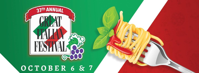 Italian Fest logo next to a fork with spaghetti