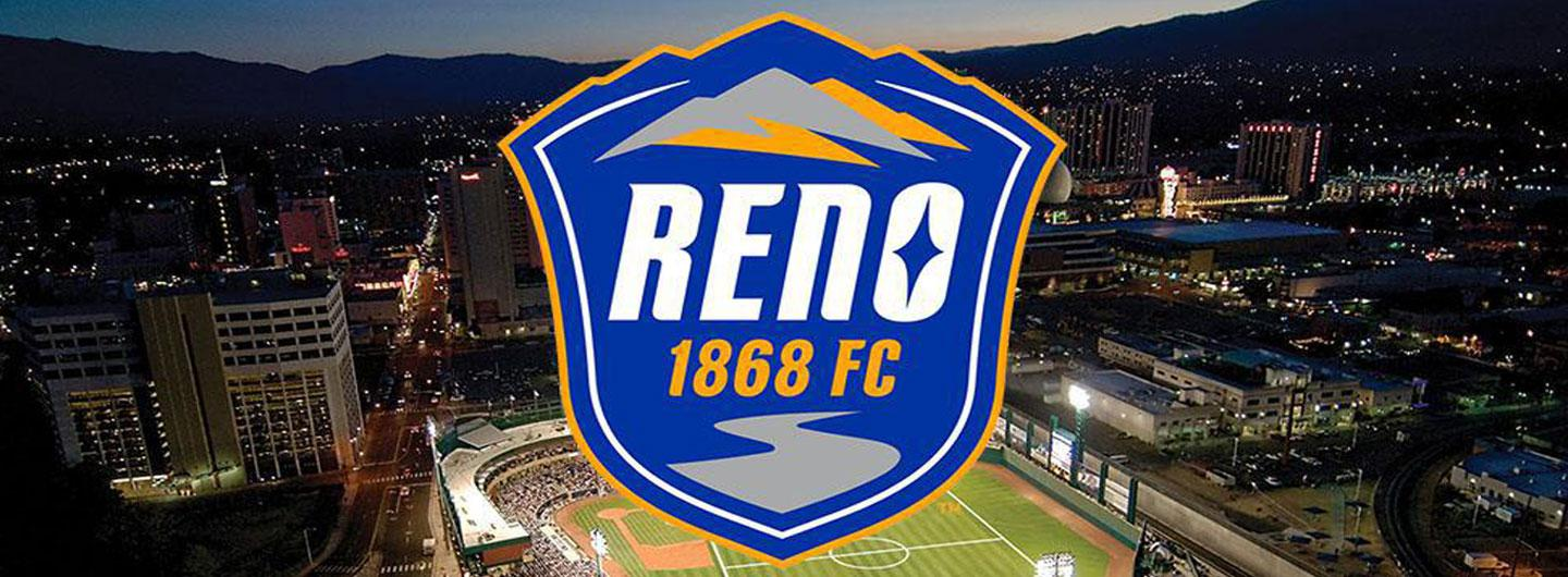 Reno 1868 FC Logo with Greater Nevada Field in Background