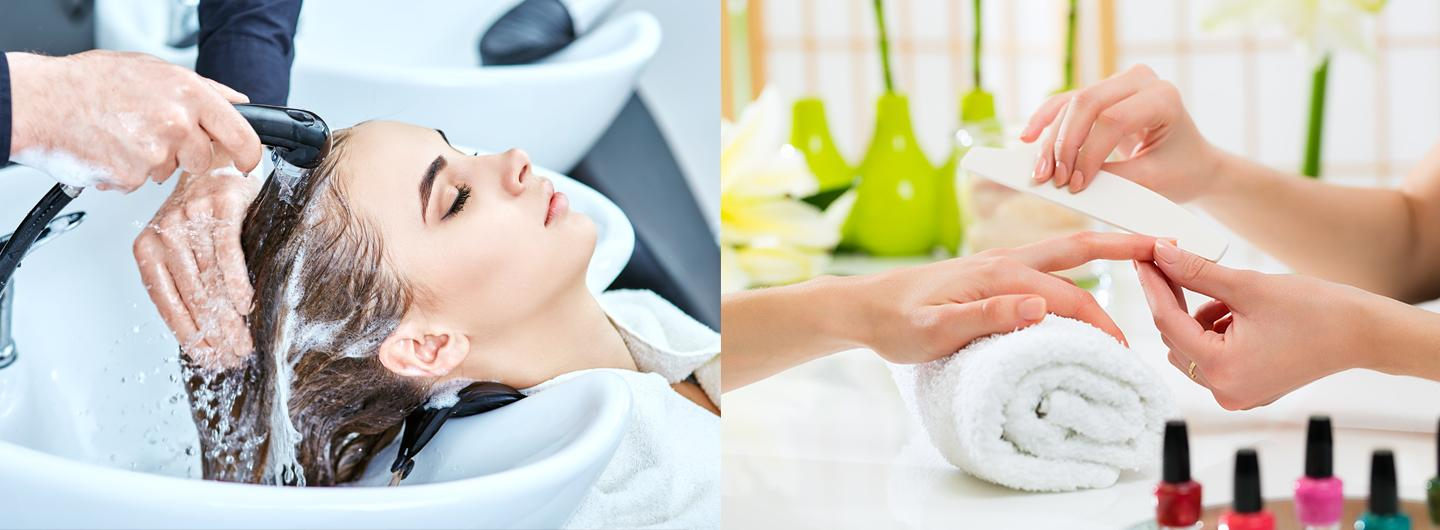 Image of Woman getting shampoo washed out of her hair.  Second image of woman getting a manicure
