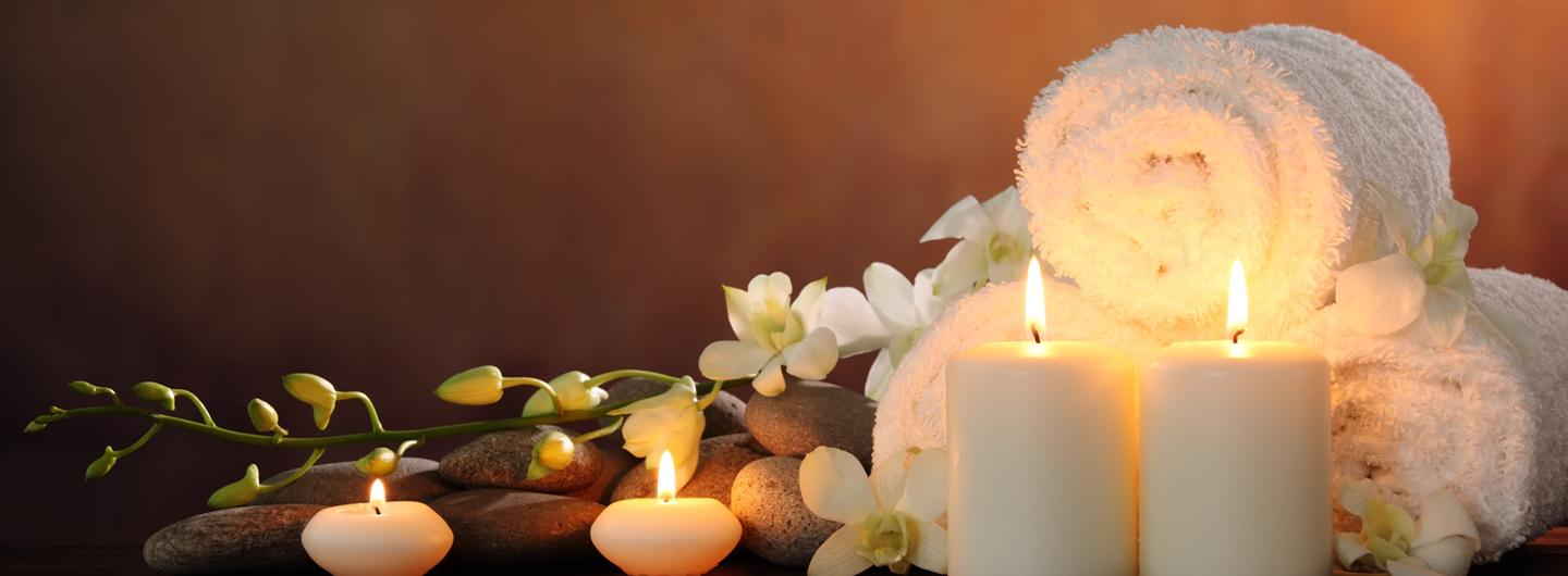 Candles and Towels with White flowers