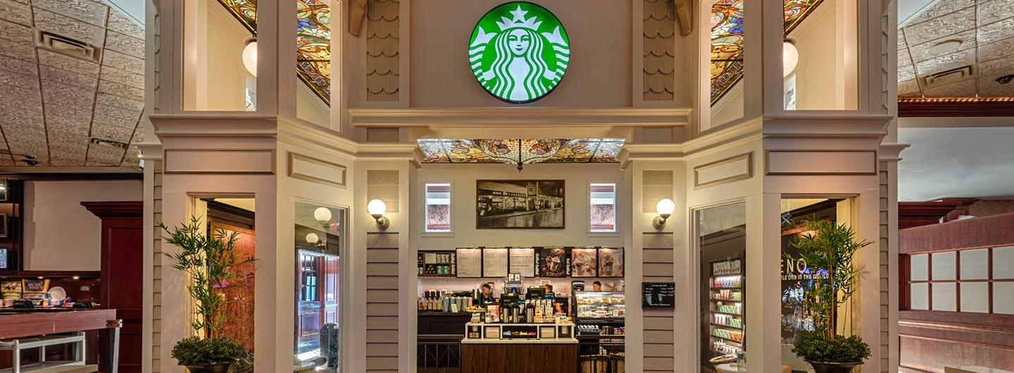 Front view of the entrance of Starbucks