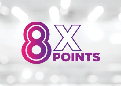 Graphic design image featuring white and light gray background with the look of blurred lights shining. In the center is a large purple number eight and just to the right is an outlined in purple X with the word Points in purple underneath it.