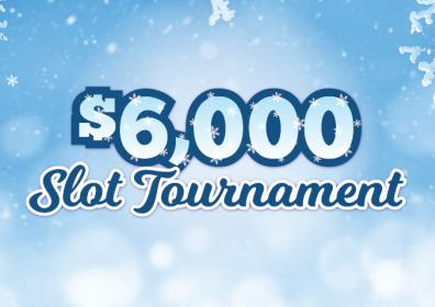 Graphic image of blue and white snowy background with $6,000 Slot Tournament in white and blue letters