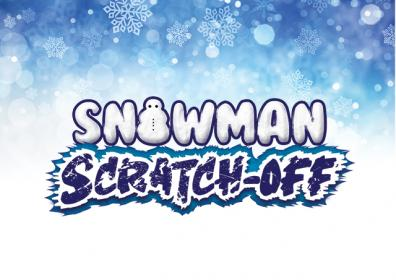 Graphic image of blue and white snowy background with the letters Snowman in white trimmed in blule and the words Scratch off in white letters trimmed in white and dark blue
