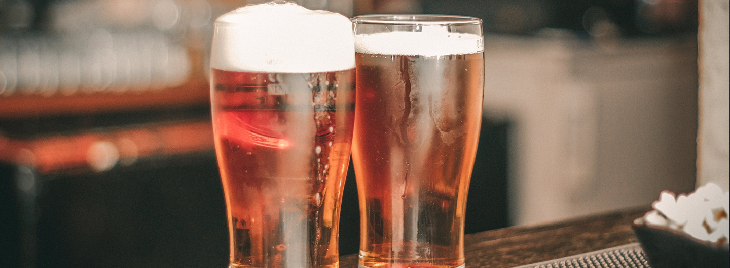 Close up view of two glasses of beer