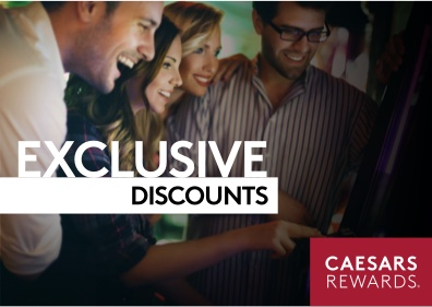 "A group of friends playing a slot machine with text saying, ""Exclusive Discounts"" and ""Caesars Rewards"""
