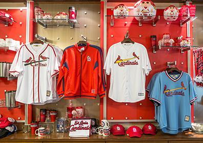 Picture of Cardinal jersey's hanging in the shop