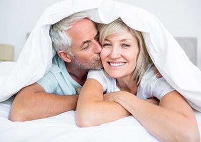 Seniors cuddling