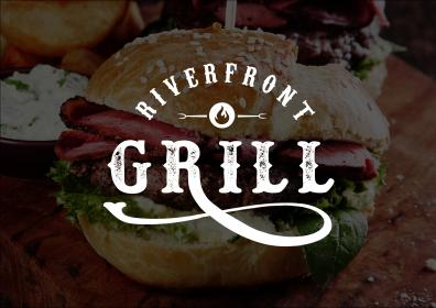 Riverfront Grill logo with burger