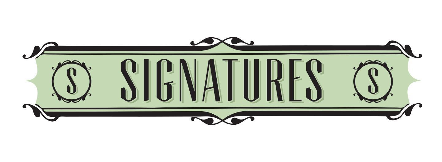 Signatures logo, green and black