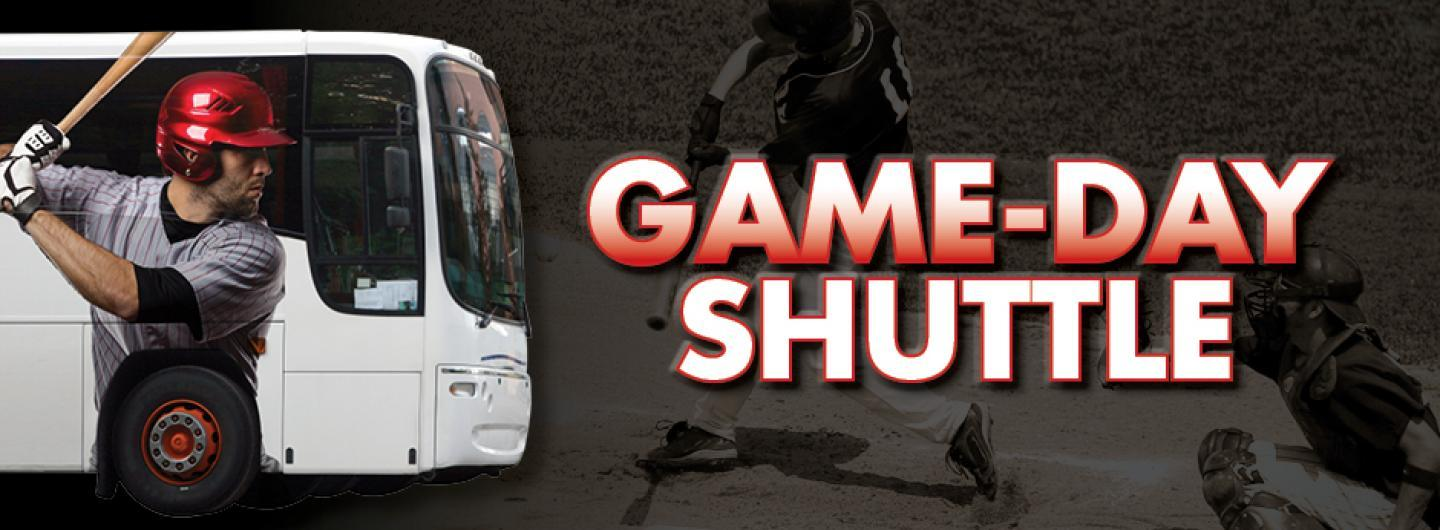 Game Day Shuttle graphic with man swinging a bat