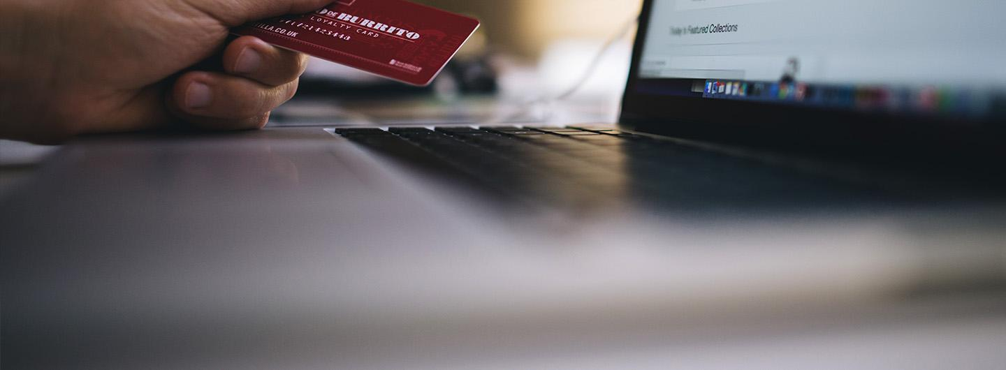 Picture of a credit card being used while shopping online