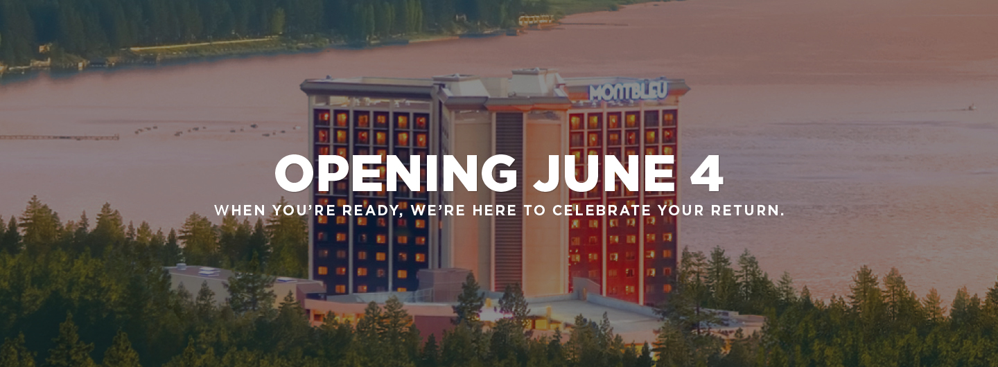 """Exterior view of Montbleu with text saying, """"Opening June 4, when you're ready, we're here to celebrate your return"""""""