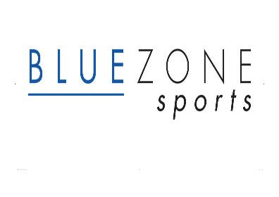 Logo with the Word Blue Underlined and the Word Sports Below the Word Zone