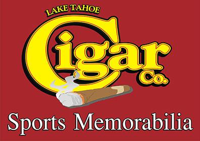 Logo of a Big Yellow Word Cigar with an Actual Cigar Laying Below it