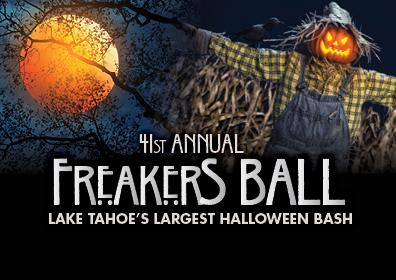 orange moon with a scare crow with text 41st annual freakers ball