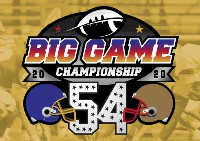 Big Game Championship copy with 2 Helmets facing each other