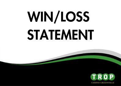 "The Words ""Win/Loss Statement"" on a White Background Over a Green and Black Wave with the Word ""TROP"""