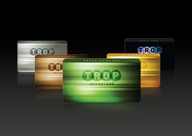 Green, Copper, Gold, Platinum and Black Trop Advantage Club Cards Configured in a V Formation