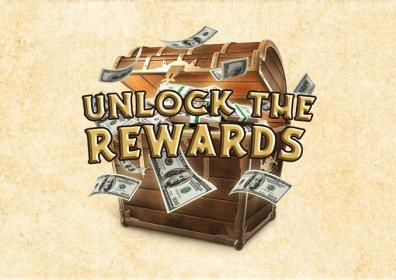Treasure chest with one hundred dollar bills and text that says Unlock the Rewards