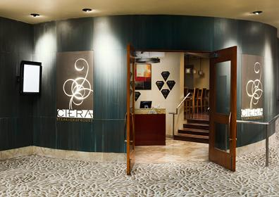 Front of restaurant with open door