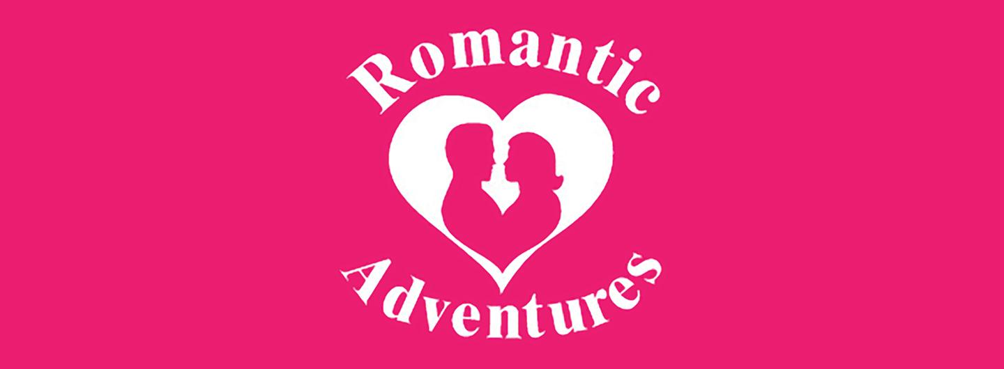 Logo of the Words Romantic and Adventures Above and Below a Heart with Silhouette of Couple Embracing