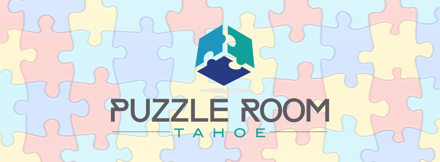 "Three Puzzle Pieces form a Cube Above the Words ""Puzzle Room"" all Against a Background Tapestry of Fitted Puzzle Pieces"