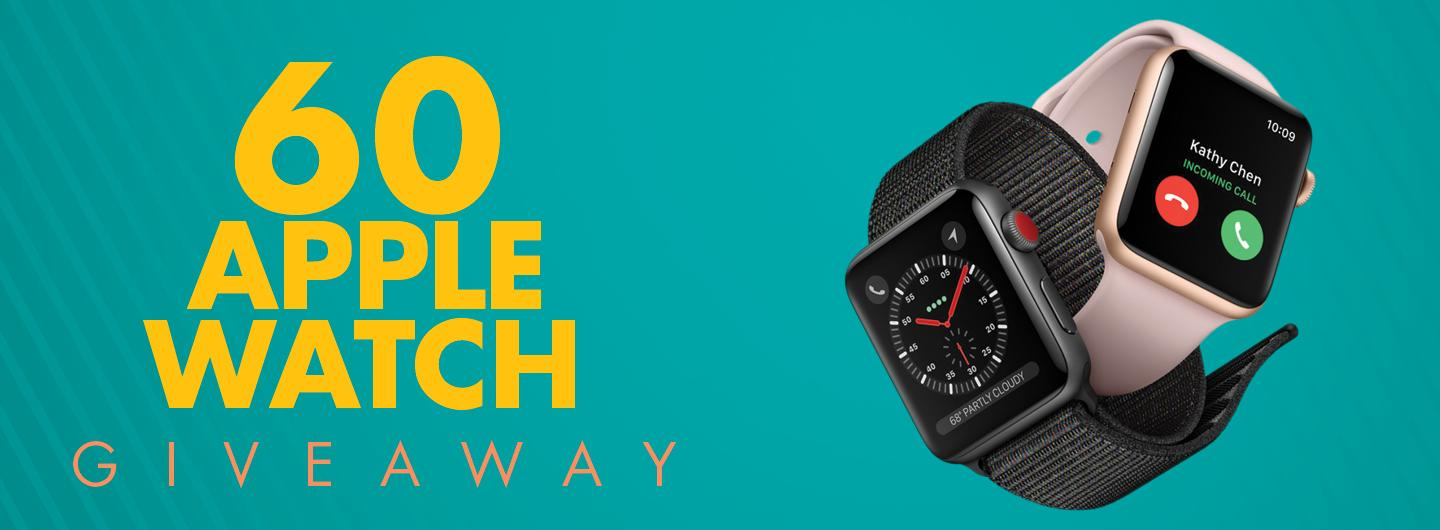 COPY - 60 APPLE WATCH GIVEAWAY WITH A PICTURE OF TWO APPLE WATCHES