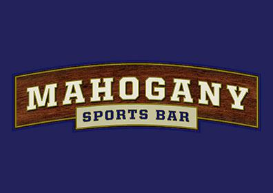 Mahogany Logo on blue background