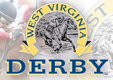 The West Virginia Derby logo with a jockey and a couple of horses shown behind the logo