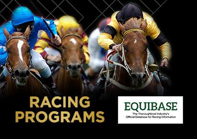 "A live horse race with the text, ""racing programs"" on the image and the logo for Equibase"