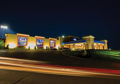 The front of Presque Isle Downs & Casino at night