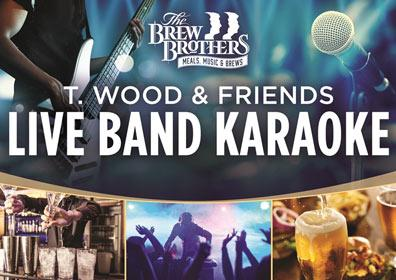Advertisement for Live Band Karaoke at The Brew Brothers with a guy holding a guitar and a mic