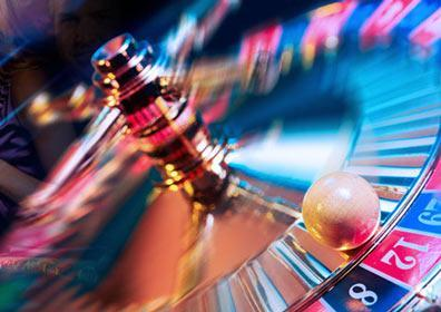 casino gaming action with spinning wheel