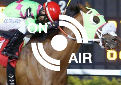 "A live horse race at Presque Isle Downs with an, ""On Air"" logo on the image"