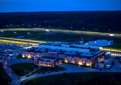 Aerial view of Presque Isle Downs Casino and Racetrack at night